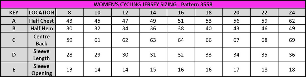 Women's Jersey Sizing