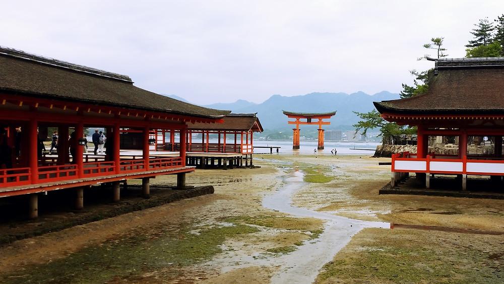 Looking through Itsukushima Shrine towards O-torii Gate