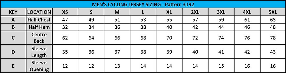 Men's Jersey Sizing