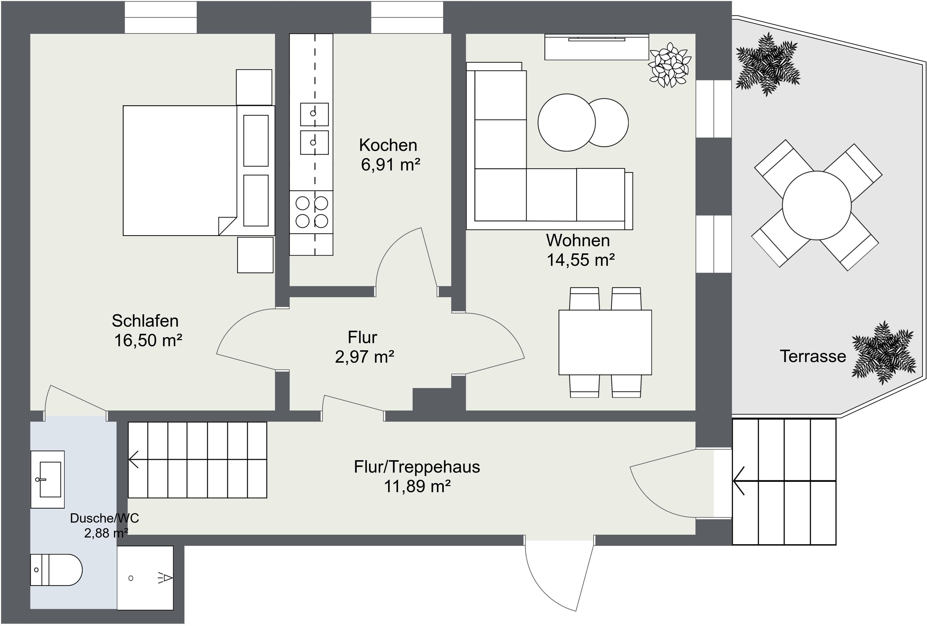 Grundriss Fewo 1 Moselhaus Uferallee Bernkastel-Kues