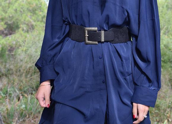 Robe chemise ample - bleu marine