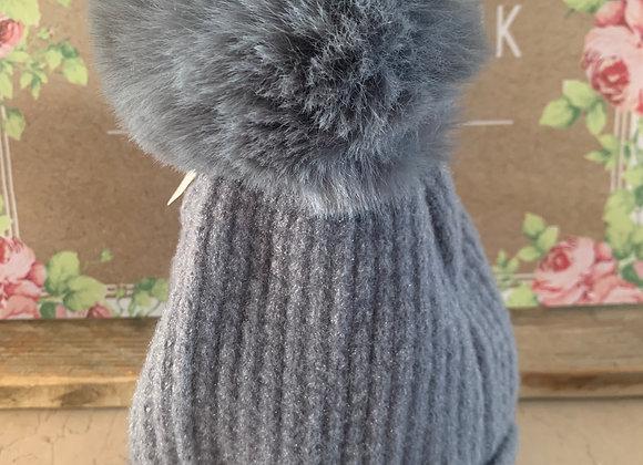 Bonnet pompon gris