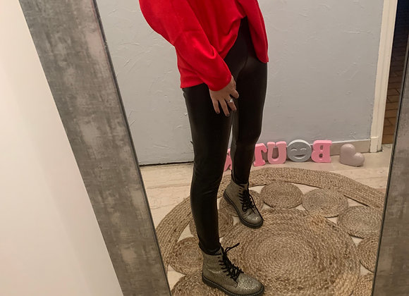 Legging noir en simili cuir