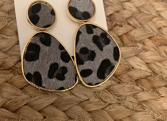 Boucles d'oreilles léopard noir et gris