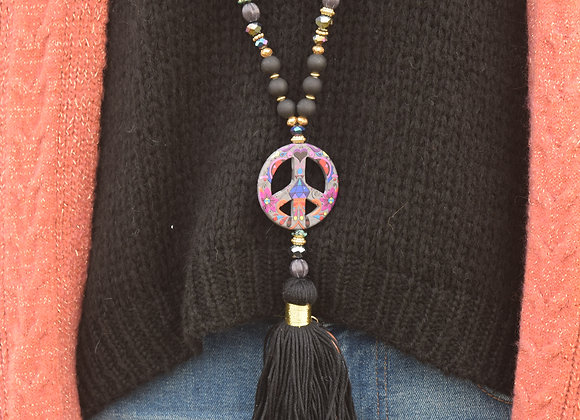 Sautoirs «peace and love» pompon