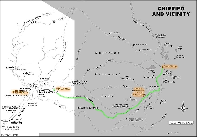 Trail Map Chirripo National Park
