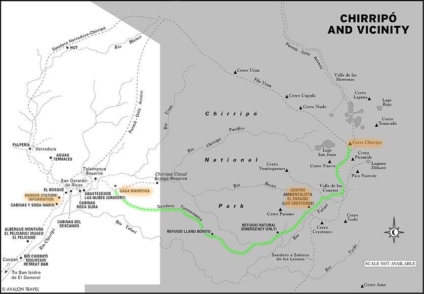 Trail Map Chirripo National Park