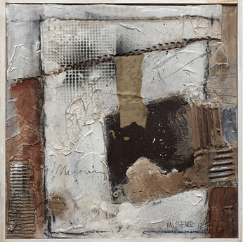 "Fragment #2 Mixed media on wood panel 12""x12"" Acrylic and mixed media on wood panel Sold"