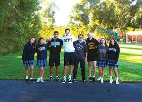 Students model local Catholic High School Sweatshirts, including Notre Dame San Jose, Notre Dame Belmont, Bellarmine, Saint Francis, Sacred Heart, Mitty and Presentation