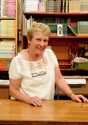 Our librarian Mary O'Shea, who founded innovative literature programs. St. Nicholas is a Catholic private school serving Los Altos, Mountain View, Los Altos Hills, Sunnyvale, Cupertino, and Palo Alto.