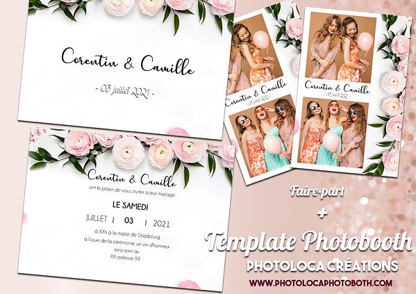 PHOTOLOCA FAIRE PART ET TEMPLATE PIVOINE