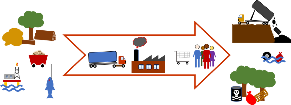 Illustration of the take-make-use-waste paradigm in linear economy, also know as a cradle to grave economy