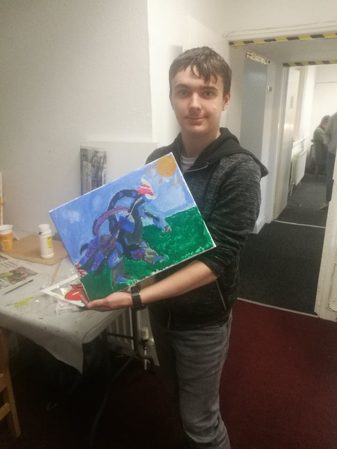 James with a charachter he has created!
