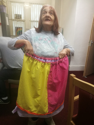 Jackie with her handmade skirt