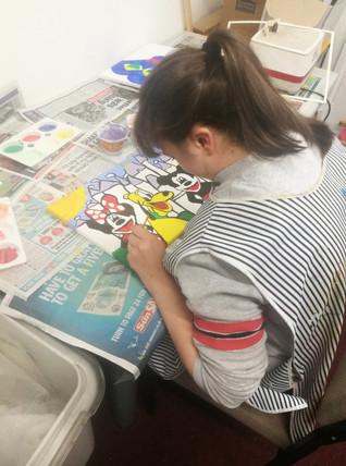 Sara Working on her Disney Canvas