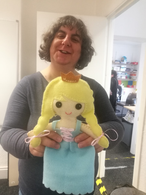 Bev with a lovely handmade doll!