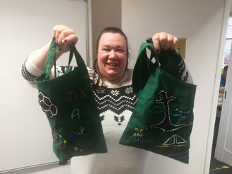 Julie with her fantastic handmade bags.