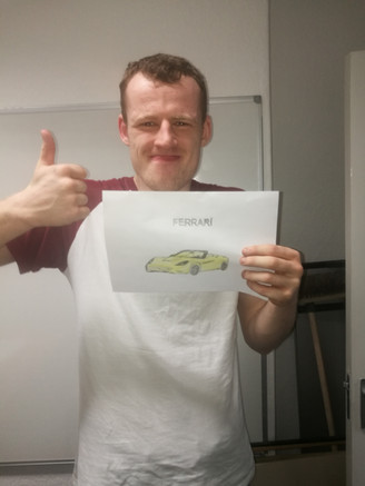 Jamie with his brilliant Car drawing.