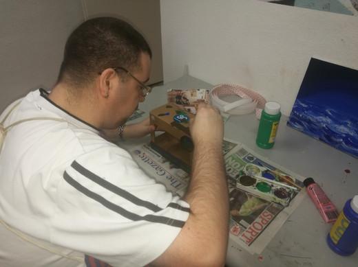 Chris hard at work.