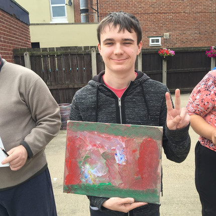 James with his abstract painting