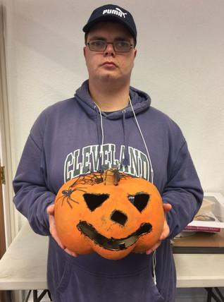 Alex with a brilliant halloween pumpkin