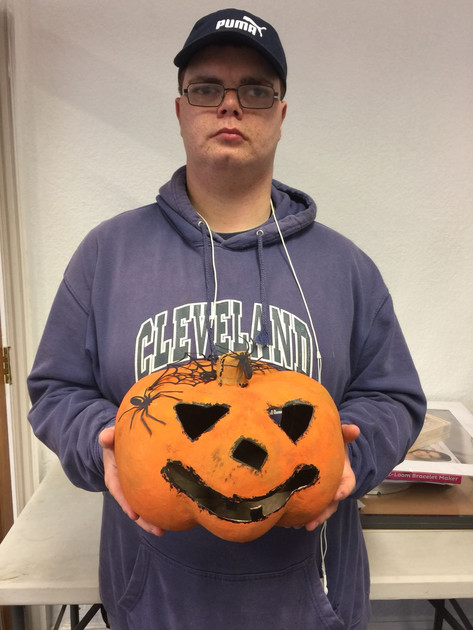 Alex with a brilliant halloween pumpkin