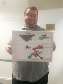 Adam with a great comic inspired canvas