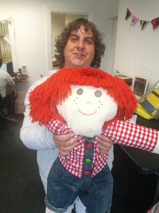Bev with her Handmade Doll