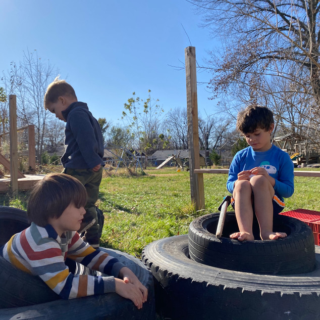 We have moved the tires and 2x4's to the Little Yard and it has changed the imaginative play in this yard! The stack of tires are cars or an ice cream shop!