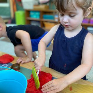 Playdough work in the outdoor classroom