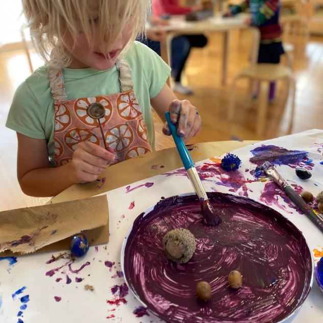 Acorn painting activity, Harry