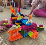We brought bristle blocks into the classroom for a few weeks and our students built all kinds of cool structures with them
