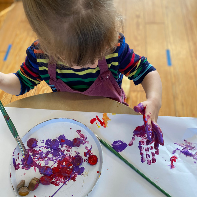 Acorn painting activity, Eleanor