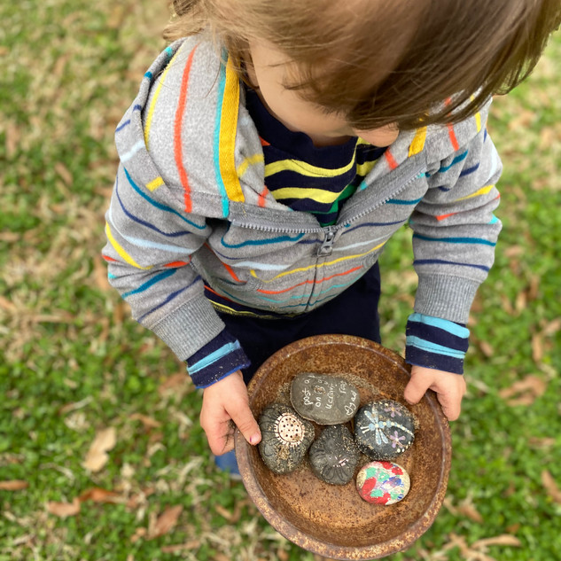 Elenaor found all of the special painted rocks in the sandbox