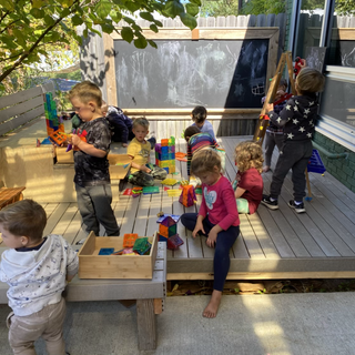 Magnetiles in our outdoor classroom!