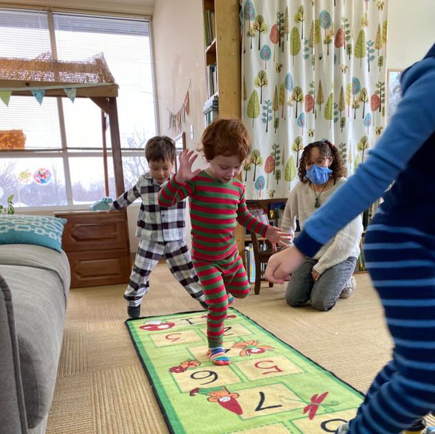 Pajama Day hopscotch