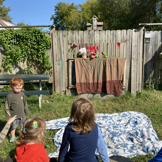 Child led and performed puppet show