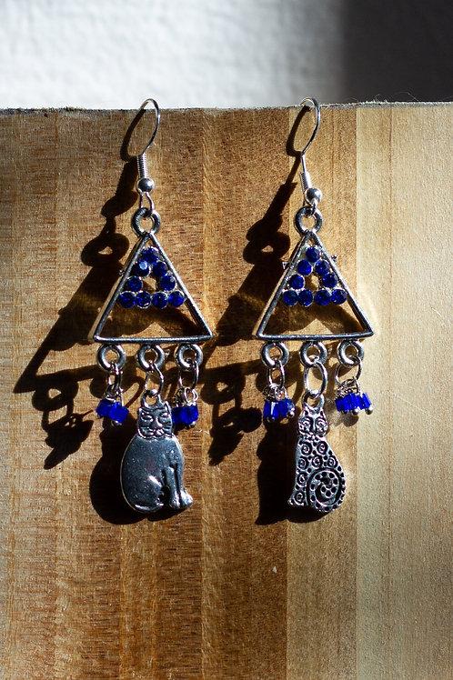 Blue pyramid cats Earrings