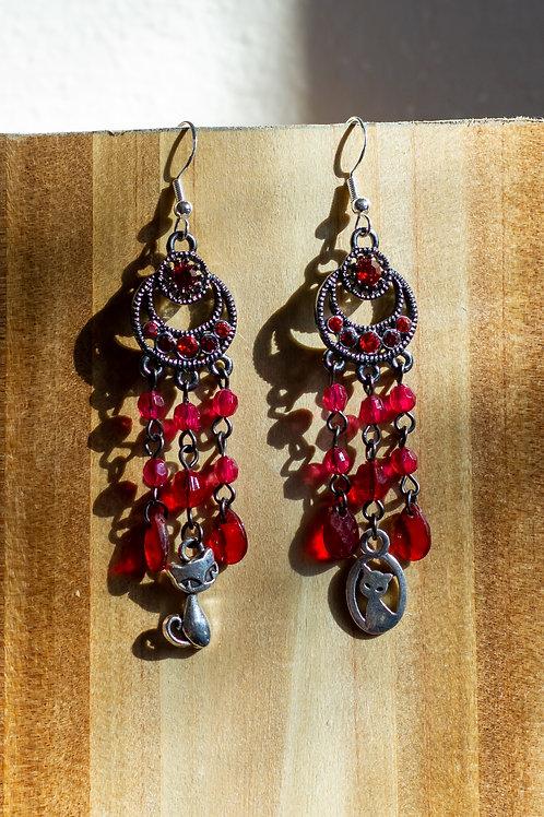 Red Luna Cats Earrings
