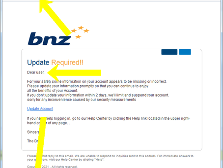 BNZ FAKE!! SCAM!! Email. Don't Fall For It