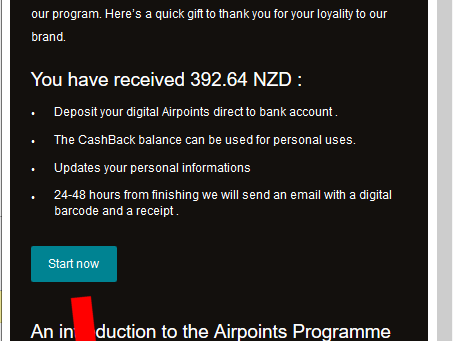 Air New Zealand Air Points SCAM email