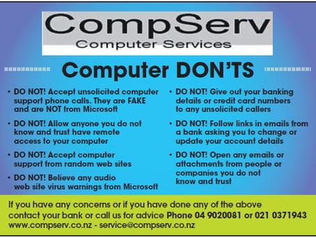 CompServ Computer Don'ts