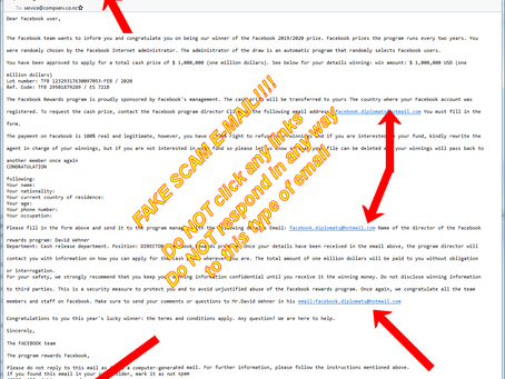 Fake!! Facebook Prizes Email