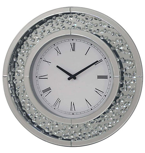 Mirror & Crystal Round Clock
