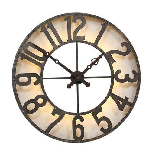 Industrial Large Wall Clock with Light