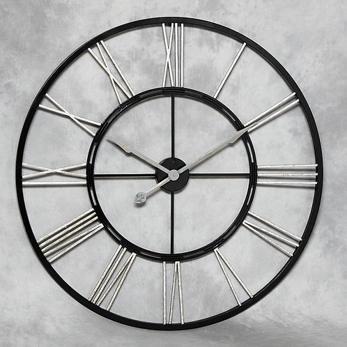Black and Silver Skeleton Clock