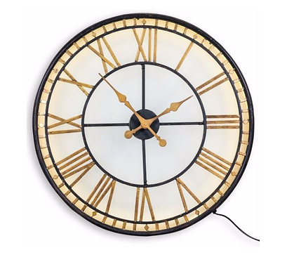 "BLACK AND GOLD BACK LIT GLASS ""WESTMINSTER"" WALL CLOCK front"