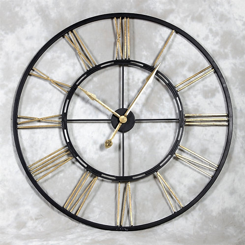 Black and Gold Skeleton Clock