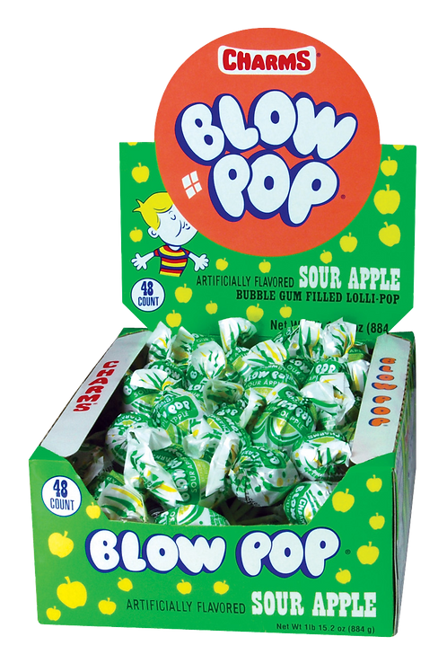 Charms Sour Apple Blow Pops 12/48