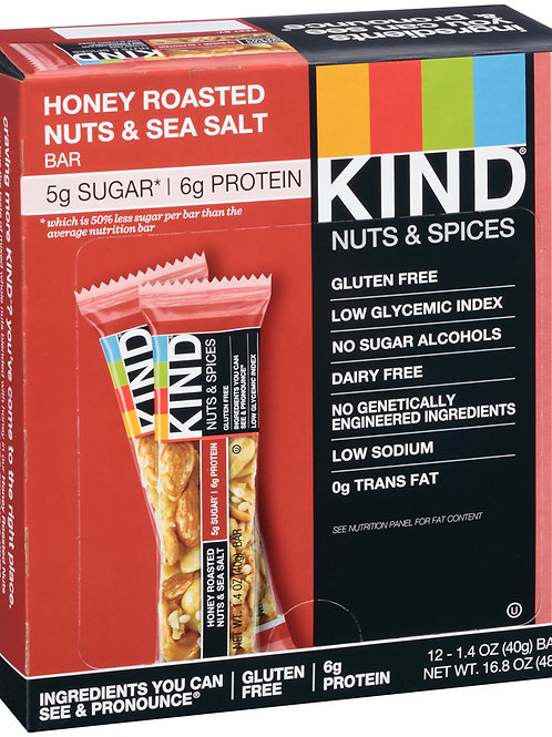 Kind Honey Roasted Nuts & Sea Salt Bars 6/12ct 1.4oz